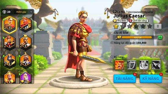 Tăng sức mạnh chỉ huy trong game Rise Of Civilizations